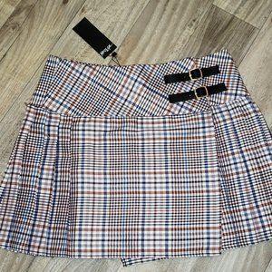Nasty Gal White/Orange Pleated Plaid/Tartan Skirt